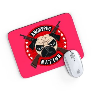 Mouse Pad Angry Pug Nation Pink 24x20