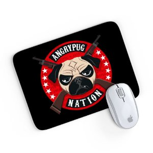 Mouse Pad Angry Pug Nation Preto 24x20