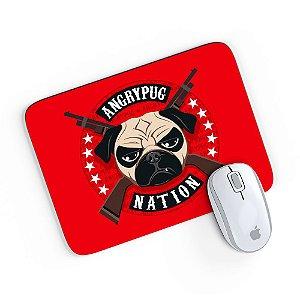 Mouse Pad Angry Pug Nation Vermelho 24x20