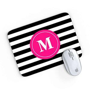 Mouse Pad Monograma Rosa Listrado Preto Inicial M 24x20