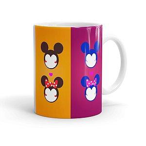 Caneca Porcelana Mickey e Minnie Faces Minimalista Branca