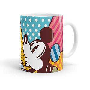Caneca Porcelana Mickey e Minnie Beijos Coloridos Branca