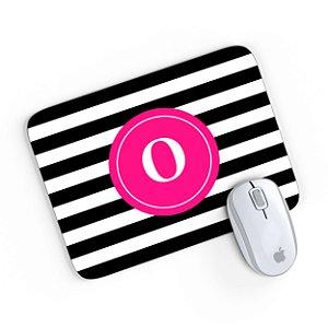 Mouse Pad Monograma Rosa Listrado Preto Inicial O 24x20