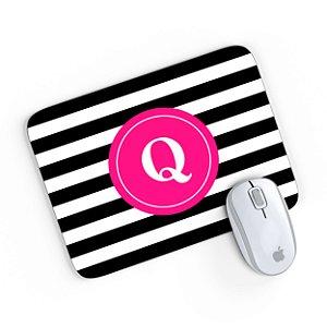 Mouse Pad Monograma Rosa Listrado Preto Inicial Q 24x20