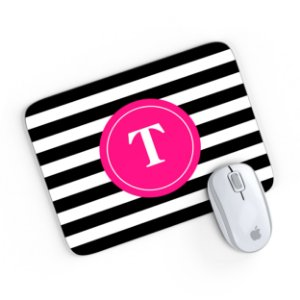 Mouse Pad Monograma Rosa Listrado Preto Inicial T 24x20