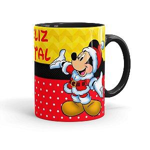 Caneca Porcelana Feliz Natal do Mickey Preta