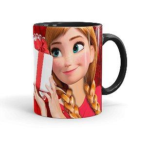 Caneca Porcelana Feliz Natal Frozen Anna 01 Preta