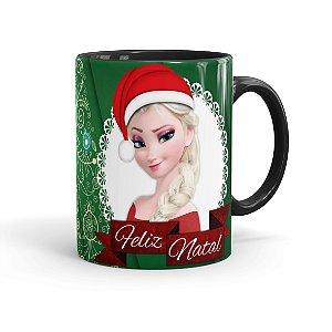 Caneca Porcelana Feliz Natal Frozen Anna e Elza 01 Preta