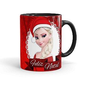Caneca Porcelana Feliz Natal Frozen Anna e Elza 02 Preta