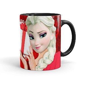Caneca Porcelana Feliz Natal Frozen Elsa 01 Preta
