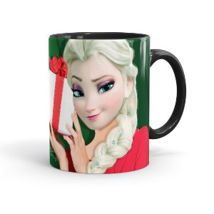 Caneca Porcelana Feliz Natal Frozen Elsa 02 Preta