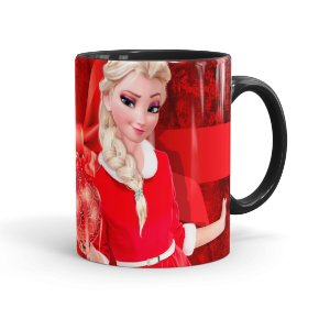 Caneca Porcelana Feliz Natal Frozen Elsa 03 Preta