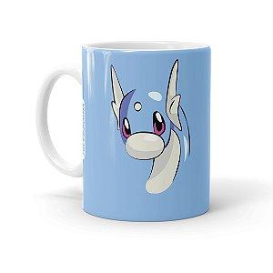 Caneca Porcelana Pokémon Dratini Branca