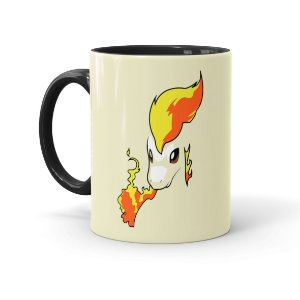 Caneca Porcelana Pokémon Ponyta Preta