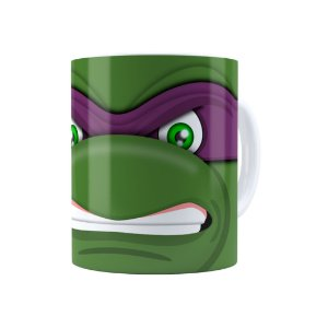 Caneca Porcelana Tartarugas Ninja Donatello 02 Branca