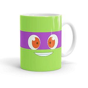 Caneca Porcelana Tartarugas Ninja Donatello Máscara Branca