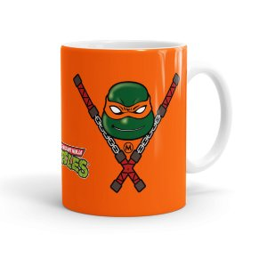 Caneca Porcelana Tartarugas Ninja Michelangelo 01 Branca