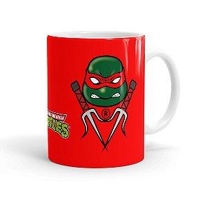 Caneca Porcelana Tartarugas Ninja Raphael 01 Branca