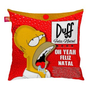 Almofada Homer Simpson Duff Beer Feliz Natal 35x35cm