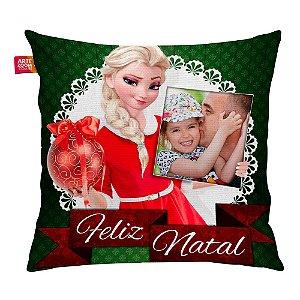 Almofada Personalizada Feliz Natal Frozen Elsa com Foto 35x35cm
