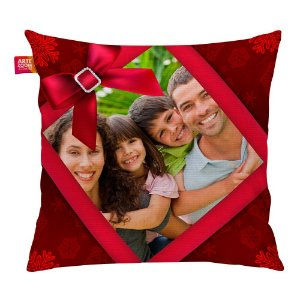 Almofada Personalizada Natal com Foto Vermelha 35x35cm