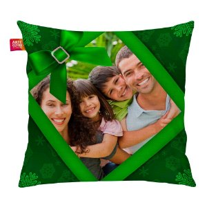 Almofada Personalizada Natal com Foto Verde 35x35cm