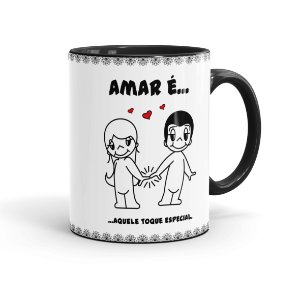 Caneca Porcelana Amar é Aquele Toque Especial Preta