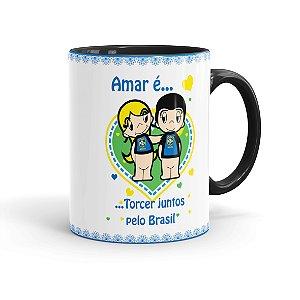Caneca Porcelana Amar é Torcer Juntos Pelo Brasil Preta