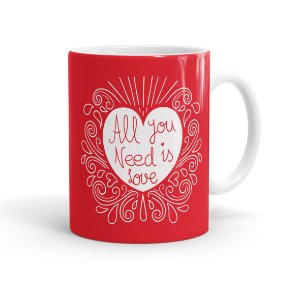 Caneca Porcelana All You Need Is Love Branca