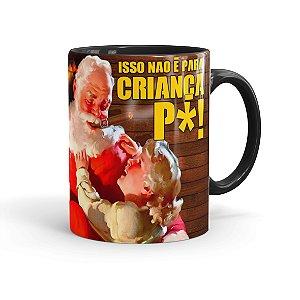 Caneca Porcelana Natal Skol Com Refri Aqui Não 01 Preta