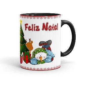 Caneca Porcelana Feliz Natal 2017 Preta