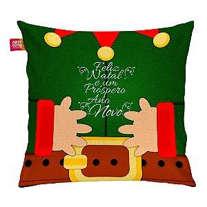 Almofada Natal Elfo Duende do Papai Noel 35x35cm