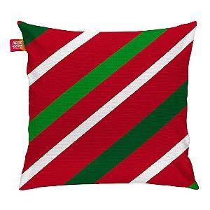 Almofada Natal Listras Diagonal 35x35cm