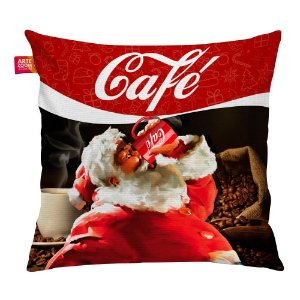Almofada Natal Papai Noel Café Cola 35x35cm