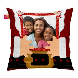 Almofada Personalizada Natal Noel Roupão com Foto 35x35cm