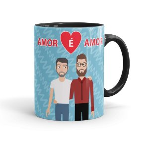 Caneca Personalizada LGBT Amor é Amor Preta