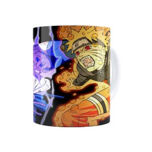 Caneca Porcelana Naruto Shippuden Naruto e Sasuke 01 Branca