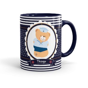 Caneca Personalizada Ursinho Marinheiro 02 Azul Escuro