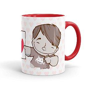 Caneca Porcelana Amo Você Namorada Especial Vermelha