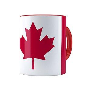 Caneca Porcelana Bandeira do Canada Vermelha