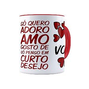 Caneca Porcelana Eu Adoro Amo Você Vermelha