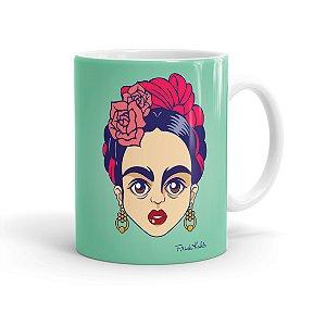 Caneca Porcelana Frida Kahlo Arte Branca