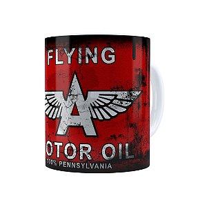Caneca Porcelana Lata de Óleo Retrô Oil Flying Branca