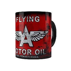 Caneca Porcelana Lata de Óleo Retrô Oil Flying Preta