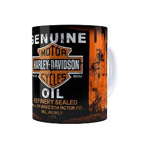 Caneca Porcelana Lata de Óleo Retrô Oil Harley Davidson Branca
