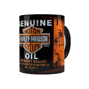 Caneca Porcelana Lata de Óleo Retrô Oil Harley Davidson Preta