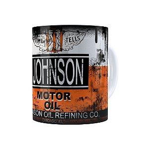 Caneca Porcelana Lata de Óleo Retrô Oil Johnson Branca