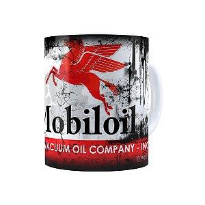Caneca Porcelana Lata de Óleo Retrô Oil Mobiloil Branca