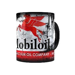 Caneca Porcelana Lata de Óleo Retrô Oil Mobiloil Preta