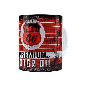 Caneca Porcelana Lata de Óleo Retrô Oil Phillips Branca